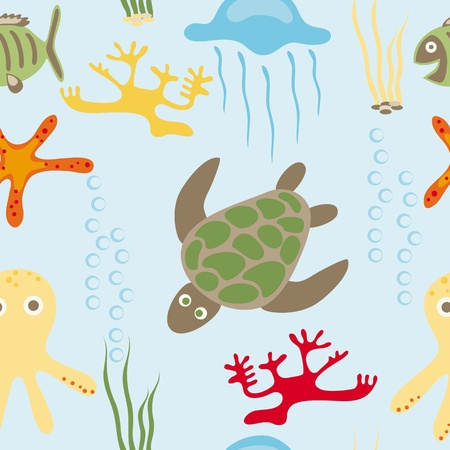 Seamless drawing of sea in habitants Vector