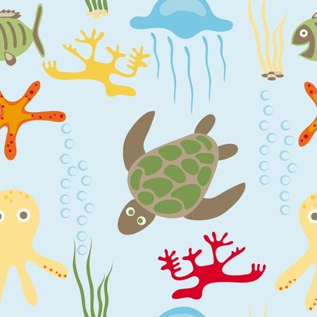 Seamless drawing of sea in habitants Illustration