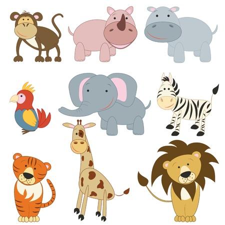 hippopotamus: Dibujos Animales africanos establecidos en el fondo blanco Vectores