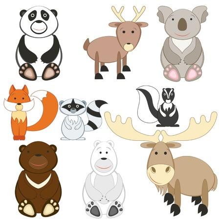 zorrillo: Animales lindos de la historieta que figuran en el fondo blanco
