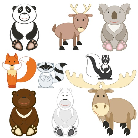 Cute cartoon animals set on white background Vector