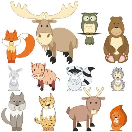 lynx: Zwierzęta leśne Cartoon ustawić na białym tle Ilustracja