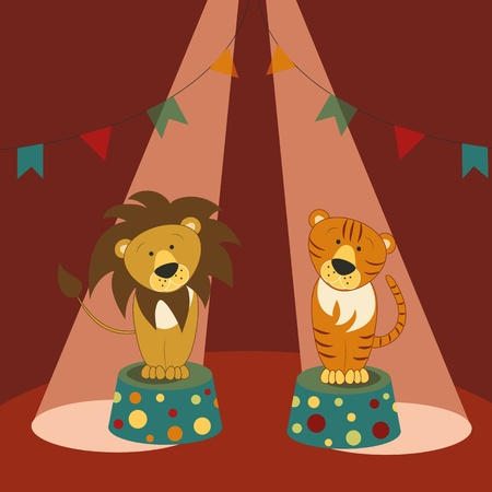 Lion and tiger sit on pedestals under beams of spotlights in a circus ring