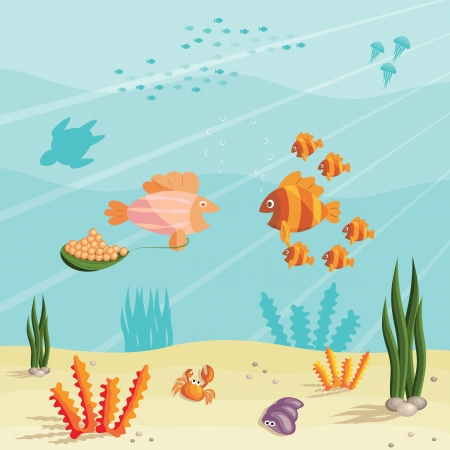Illustration of an underwater ocean scene with small cartoon fishes Vector