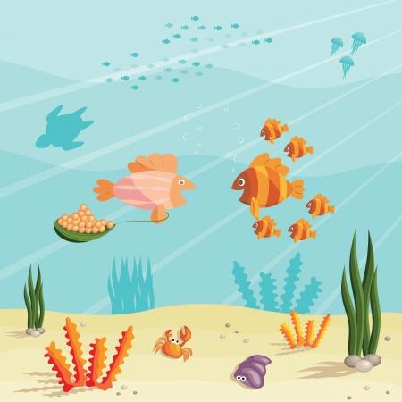 algas marinas: Ilustraci�n de una escena bajo el agua del oc�ano con peces peque�os de dibujos animados Vectores