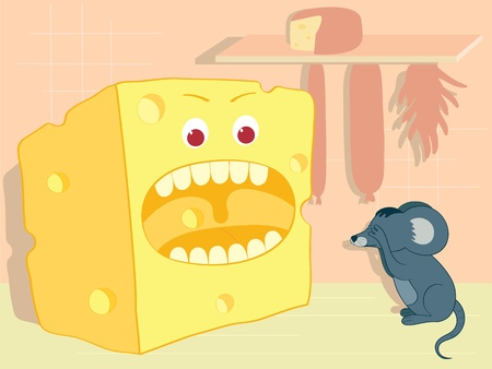 Cartoon illustration-malicious cheese and cowardly little mouse Vector