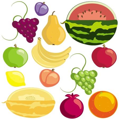 Set di frutti maturi su sfondo bianco