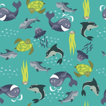 Vector seamless background with sea animals Vector