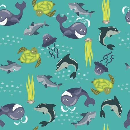 Vector sfondo trasparente con animali marini