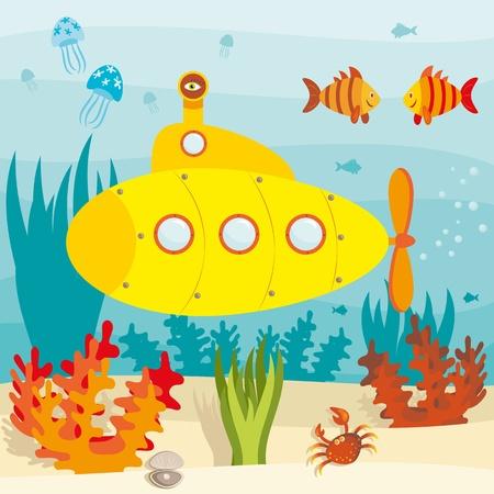 Cartoon duikboot onderzoekt de oceaan