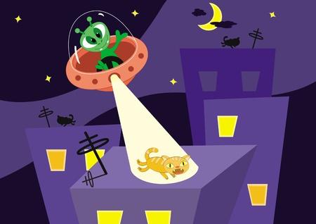 Cartoon illustrazione vettoriale. Cat scappa su un tetto da alieno. Vettoriali
