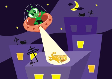 Cartoon vector illustration. Cat escapes on a roof from alien.