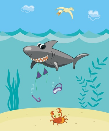 ocean floor: Comic vector illustration. The big cartoon shark ate the girl. Illustration