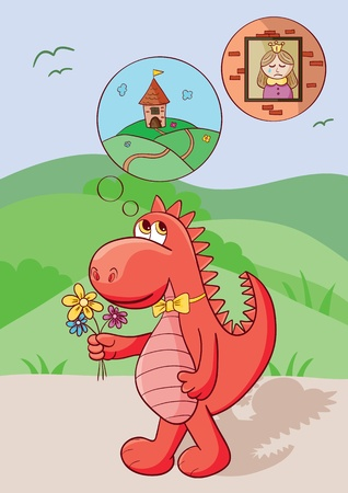 Cute red dragon bears flowers for the princess who cries in a brick tower. Vector