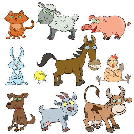 puppy and kitten: Cartoon hand-drawn farm animals set  Vector illustration