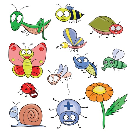 Cartoon hand-drawn cute insects set.illustration. Vector