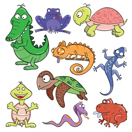 Hand-drawn cute cartoon reptiles and amphibians illustration  Vector