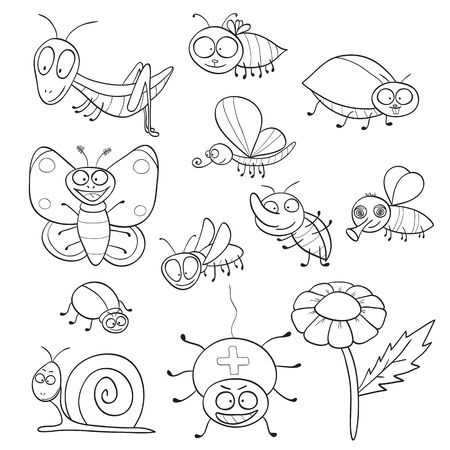 doodle art: Outlined cute cartoon insects for coloring book. Vector illustration. Illustration