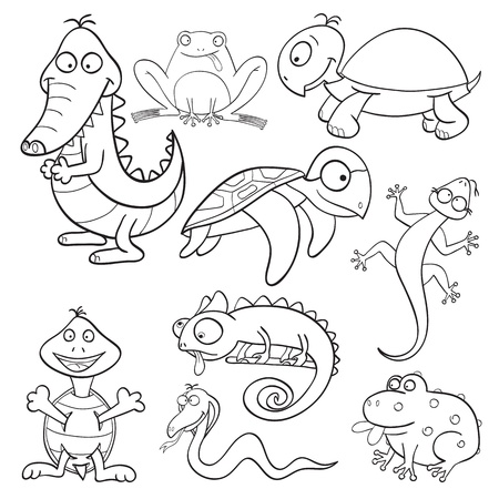 Outlined cute cartoon reptiles and amphibians for coloring book Vector