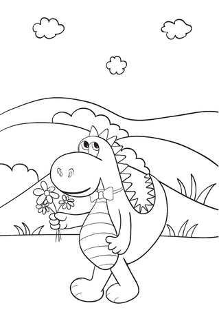 Outlined cute cartoon dragon for coloring book.