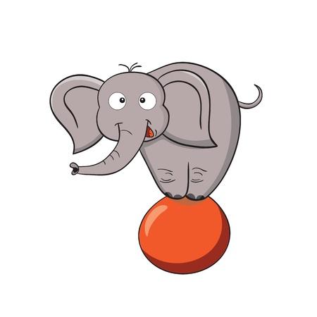 Illustrazione vettoriale di sorridere elefante cartone animato su una palla Vettoriali