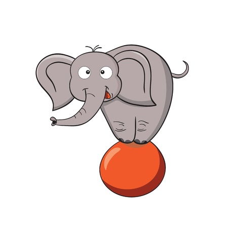 Vector illustration of smiling cartoon elephant on a ball  Illustration