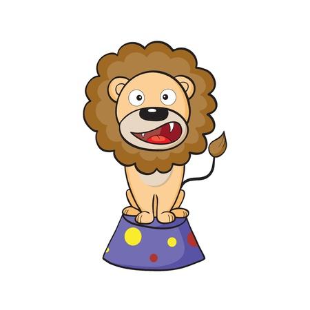 Vector illustration of cute cartoon lion sitting on a pedestal Illustration