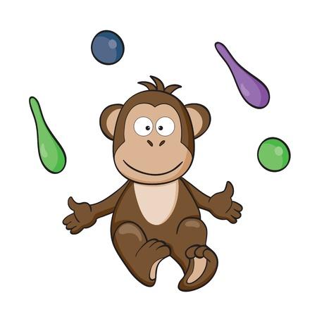 illustration of cute cartoon monkey with balls