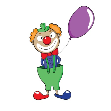illustration of smiling cartoon clown with balloon