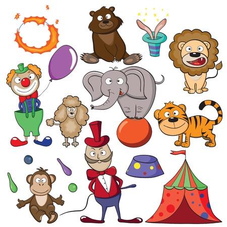 clown cirque: Dessinés à la main les éléments pour votre conception sur un thème