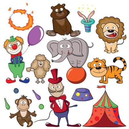 cartoon circus: Hand-drawn elements for your design on a theme