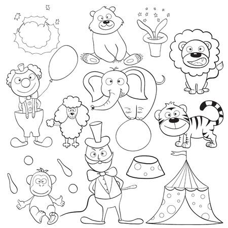 Delineato simpatici cartoni animati elementi circensi per libro da colorare. Illustrazione vettoriale.
