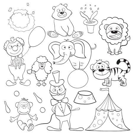 Outlined cute cartoon circus elements for coloring book. Vector illustration.