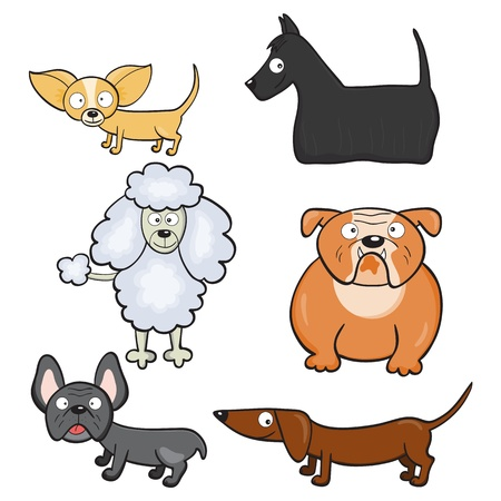 Hand-drawn cute cartoon dogs. Vector