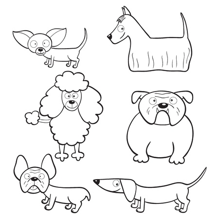 Outlined cute cartoon dogs for coloring book Vector
