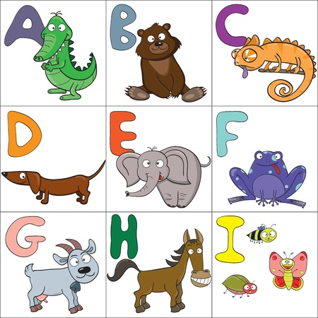 Hand-drawn alphabet with cartoon animals from A to I Vector