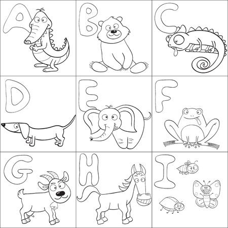 Delineati gli animali simpatici cartoni animati e l'alfabeto dalla A alla I per un libro da colorare