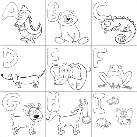 Outlined cute cartoon animals and alphabet from A to I for coloring book