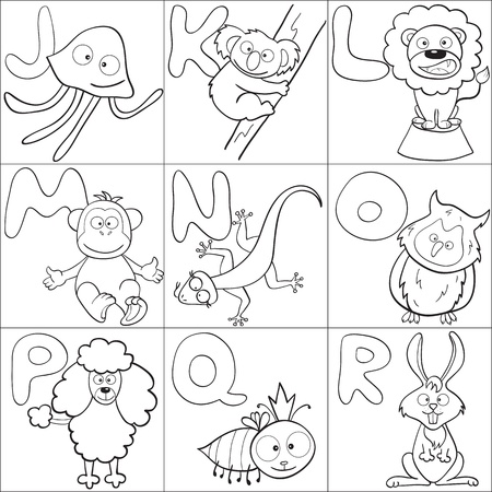 Delineati gli animali simpatici cartoni animati e alfabeto da J alla R per la colorazione libro