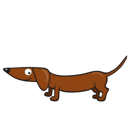 illustration of smiling cute cartoon dachshund. Vector