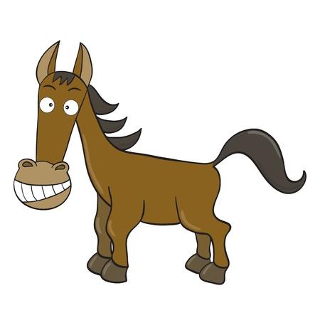 illustration of smiling cute cartoon horse.
