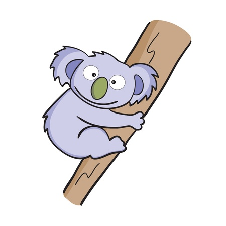 illustration of smiling cute cartoon koala. Vector