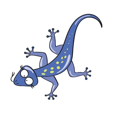 illustration of smiling cute cartoon lizard. Illustration