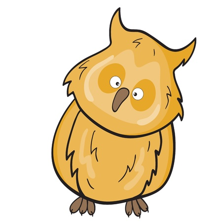 illustration of smiling cute cartoon owl. Illustration