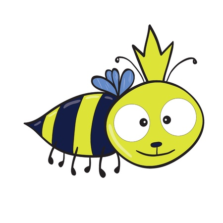 illustration of smiling cute cartoon queen bee. Vector