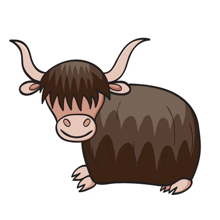 herbivorous:  illustration of smiling cute cartoon yak. Illustration