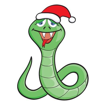 Cartone animato serpente sveglio nel tappo del nuovo anno su sfondo bianco Vettoriali