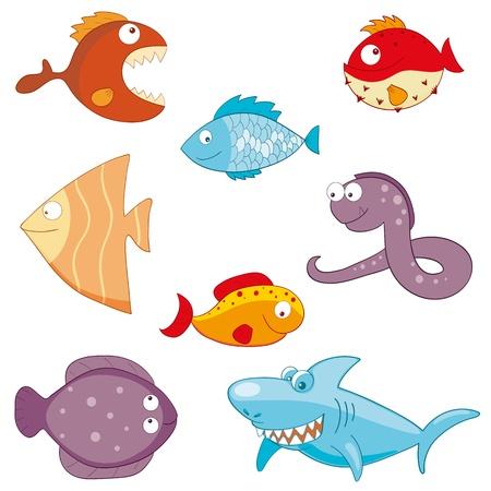 Vector illustration of hand-drawn cartoon fishes