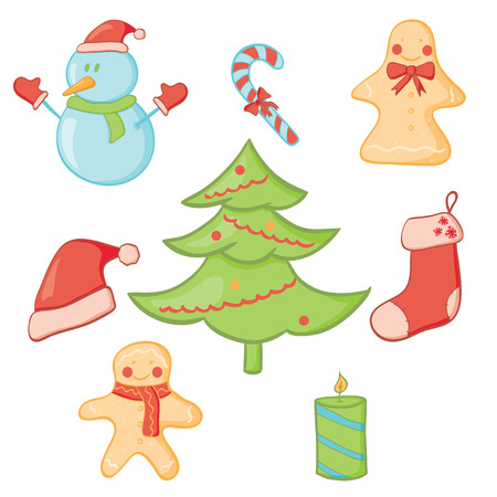 Vector illustration of christmas doodle icon set