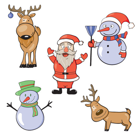 Vector illustration of New Year doodle icon set Illustration